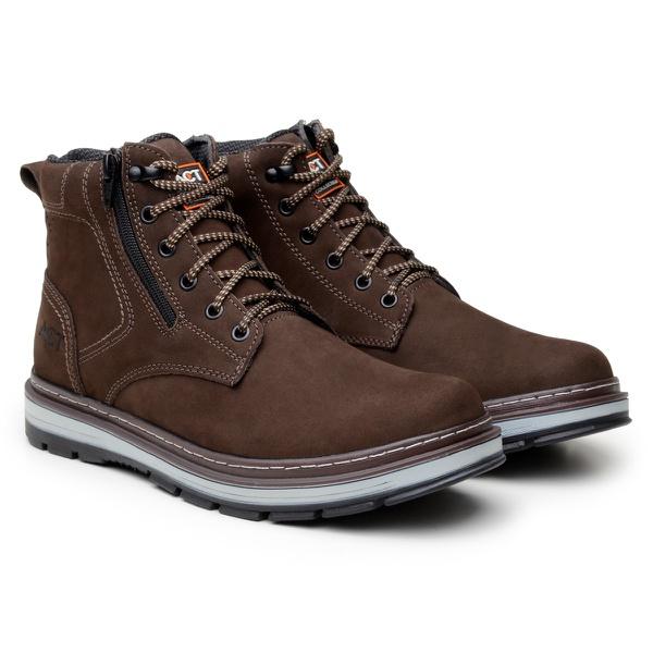 Bota ACT Footwear Zip One Café + Meia Brinde