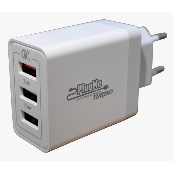 CARREGADOR UNIVERSAL PAREDE C/02 SAIDAS USB 2.4A / 01 SAIDA USB QC 3.0