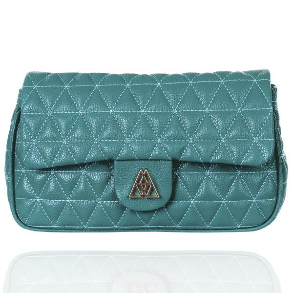 Bolsa de Couro Maria com Matelassê Azul Turquesa