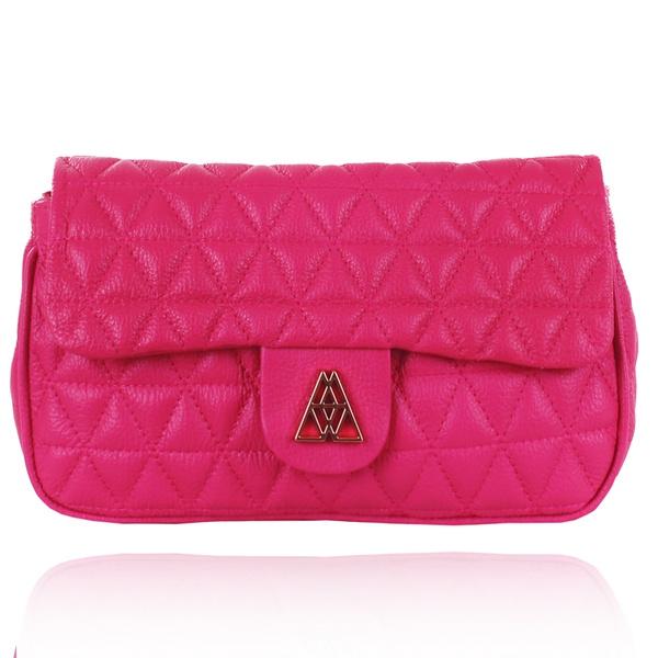 Bolsa de Couro Maria com Matelassê Pink