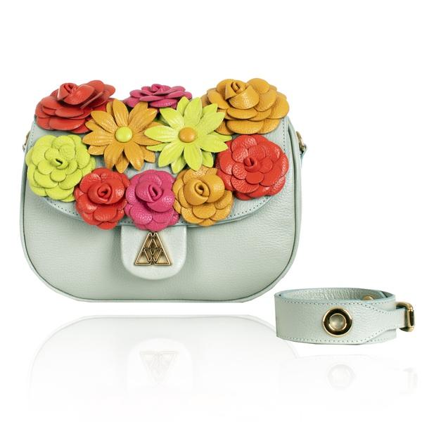 SOB ENCOMENDA   Bolsa Tiracolo Andy Pistache Flowers