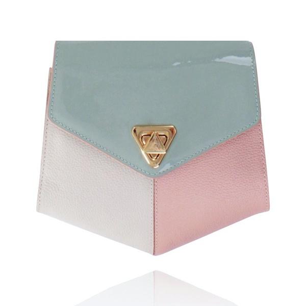 Bolsa Amers Couro Mint, Off White e Rosa Pequena Geométrica