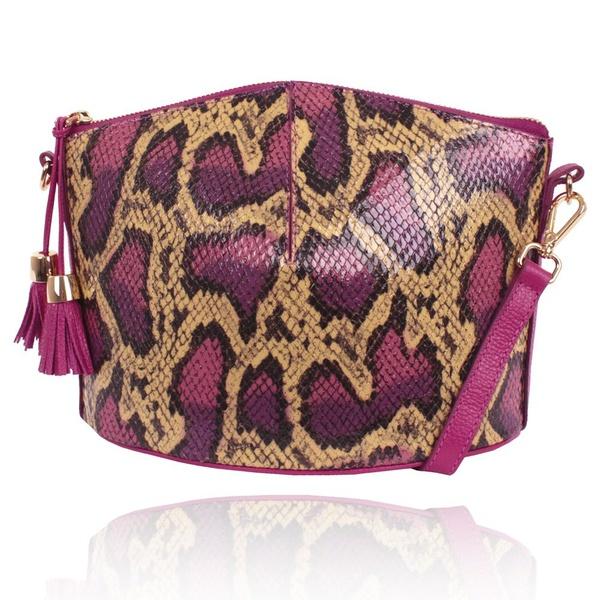 Bolsa Jazz Couro Pink e Snake Verniz Estruturada Transversal