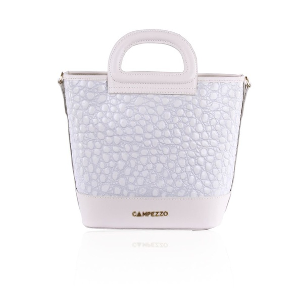 Bolsa Lassie Bucket Bag Couro Off White Croco