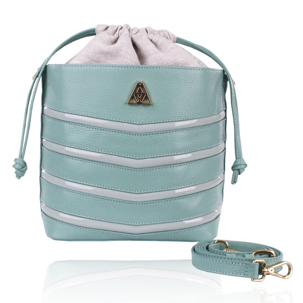 Bolsa Mondrian Couro Mint e Verniz Bucket Bag