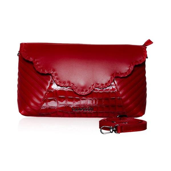 Bolsa Tilda Transversal Vermelha de Couro Pelica de Cabra, Croco e Matelasse