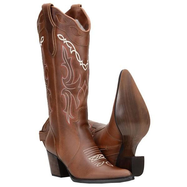 Texana Feminina Cano Bordado e Bico Fino