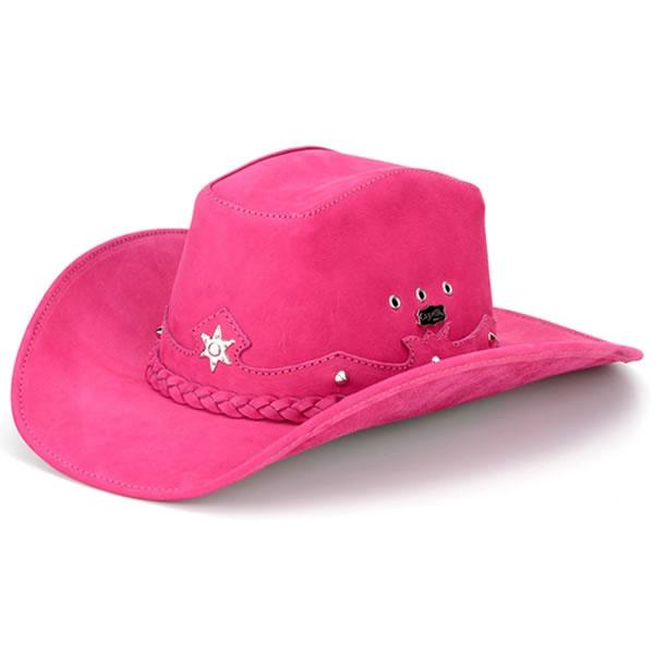 Chapéu Country Feminino Couro Rosa