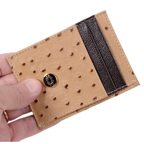 Porta Cartão Prático Feminino Em Couro Avestruz
