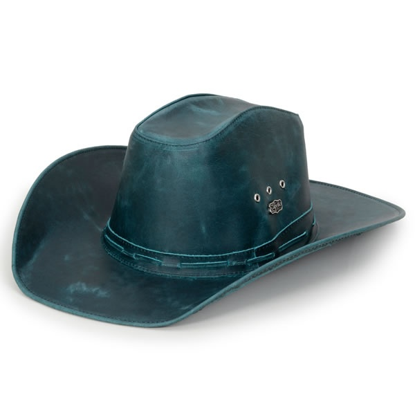 Chapéu Americano Estilo Country Couro Fóssil Azul