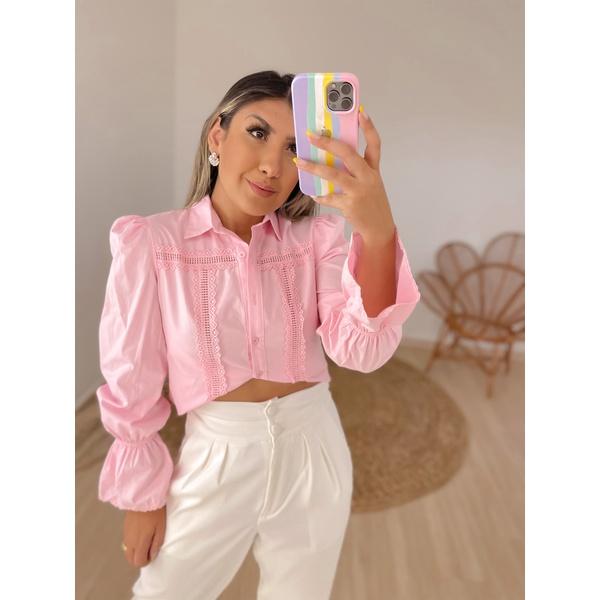 Camisa Valeria Rosa Claro Rosa Claro