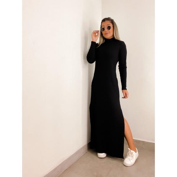 Vestido Longo CF Canelado Preto