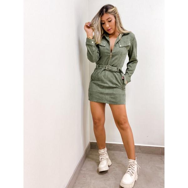 Vestido ML Cotelê Verde