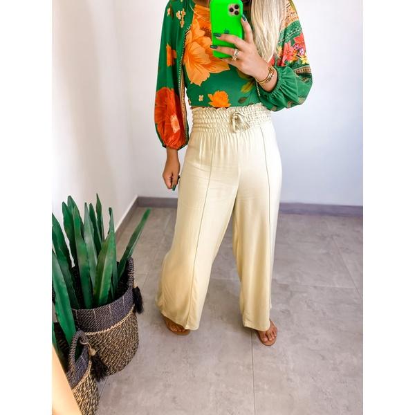 Calça Pantalona Iris Areia