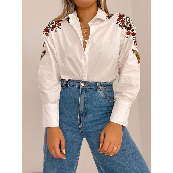 Camisa Hellen Bordada Branca