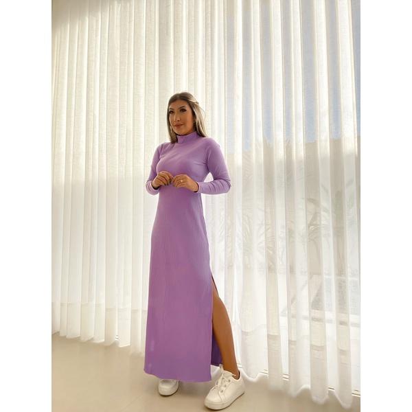 Vestido Longo Cf Canelado Lilás