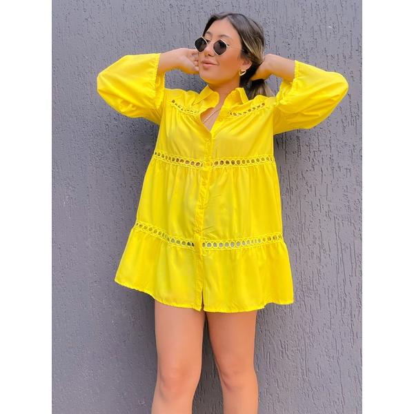 Camisa Bata Rhayssa Amarela