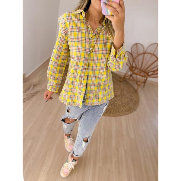 Camisa Xadrez Amarela Amarela