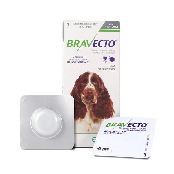 Bravecto 500 Mg De 10 Até 20 Kg -12 Semanas - Bravecto