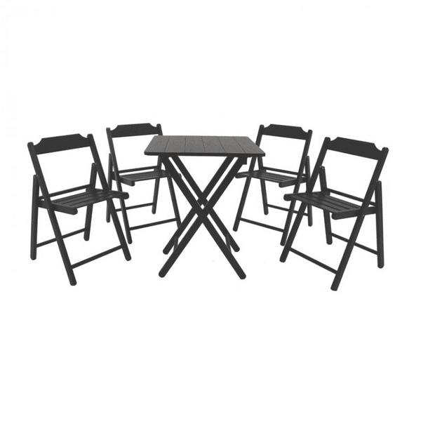 Conjunto De 1 Mesa E 4 Cadeiras Beer Tabaco Teca 10630/073 - Tramontina