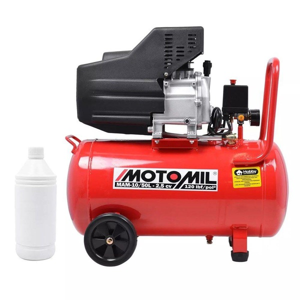 Motocompressor de Ar 8,8 Pés3/min 2,5HP 50 Litros Bivolt - MOTOMIL