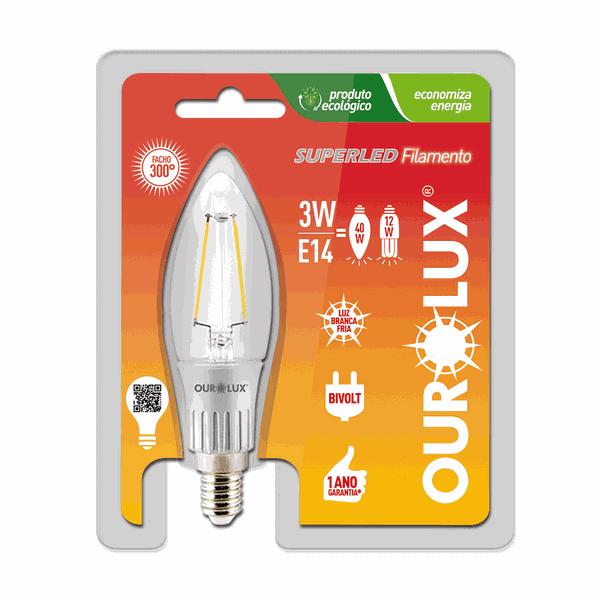 LAMPADA VELA FILAMENTO CLARA E-14 3W (Luz Branca Fria)
