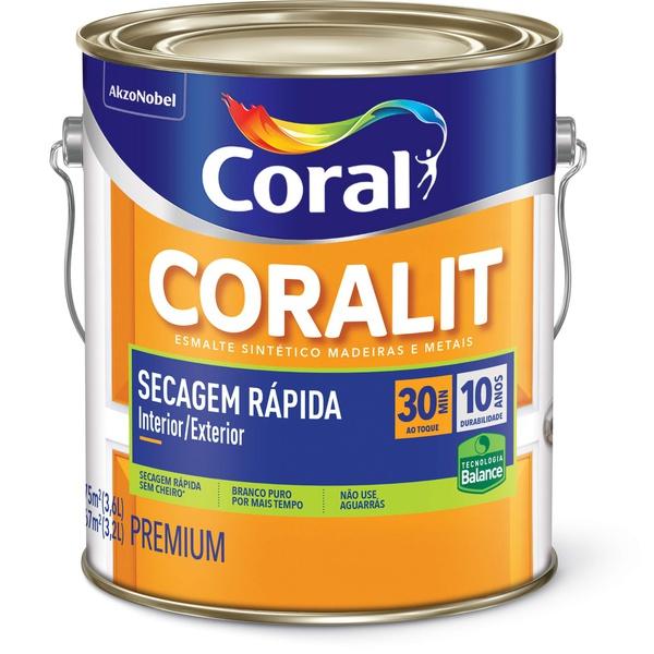 Esmalte acetinado Coralit Secagem Rapida Balance Branco 3,6L