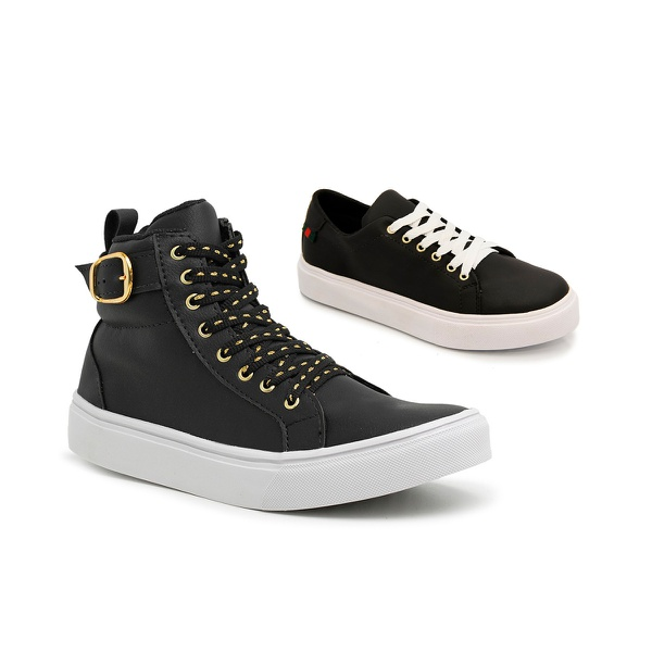 kit 2 pares Tênis Feminino Sneaker e Slip On Preto