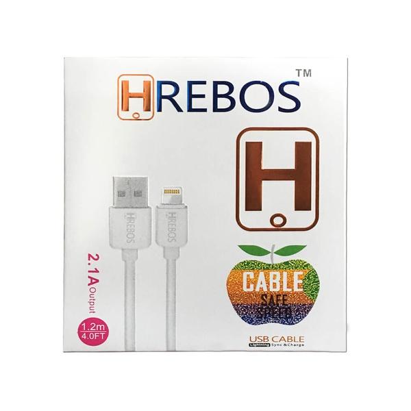 CABO DE DADOS USB MARCA HREBOS B005 PARA IPHONE 1M BRANCO