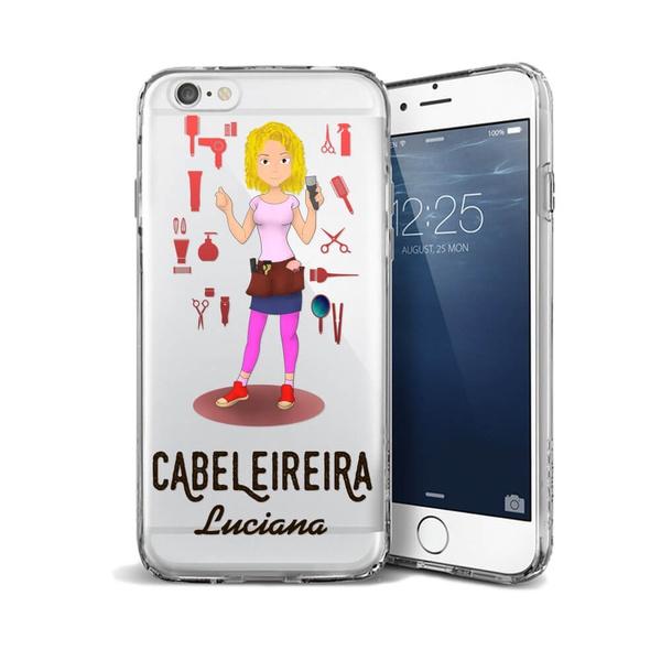 CAPA FLEXIVEL PERSONALIZADA COM NOME CABELEIREIRA LOIRA CABELO CACHEAD