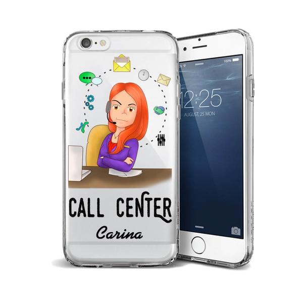 CAPA FLEXIVEL PERSONALIZADA COM NOME CALL CENTER RUIVA CABELO LISO