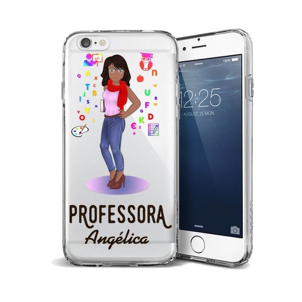 CAPA FLEXIVEL PERSONALIZADA COM NOME PROFESSORA NEGRA CABELO LISO