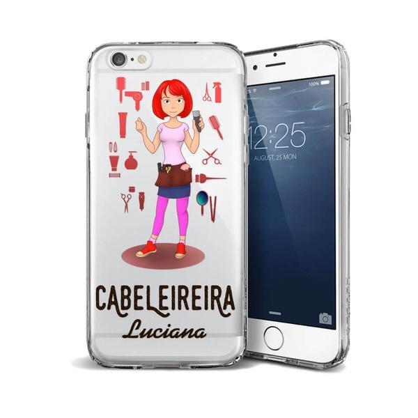 CAPA FLEXIVEL PERSONALIZADA COM NOME CABELEIREIRA RUIVA CABELO LISO
