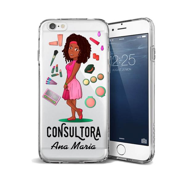 CAPA FLEXIVEL PERSONALIZADA COM NOME CONSULTORA NEGRA CABELO CACHEADO