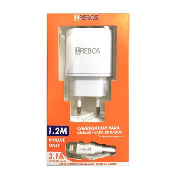 CARREGADOR B014 MARCA HREBOS 3.1A + CABO IPHONE BRANCO