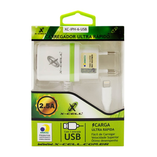CARREGADOR MARCA XCELL PARA IPHONE 5 6 7 8 LIGHTNING 2.5A LED 2 ENTRADAS