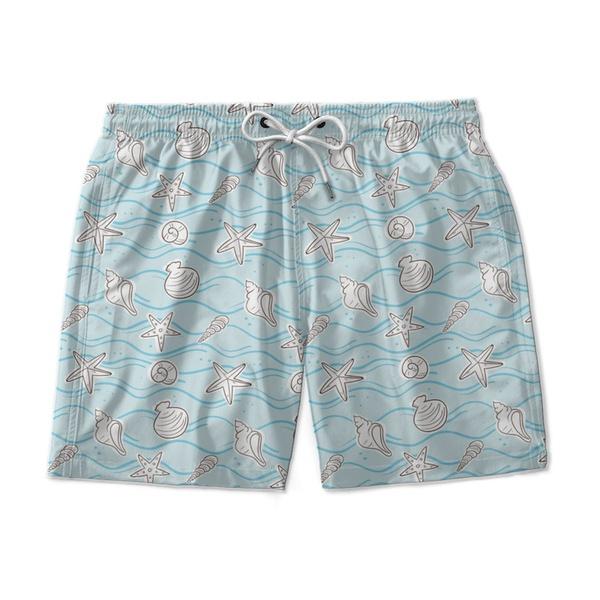 Short Praia Conchas Azul