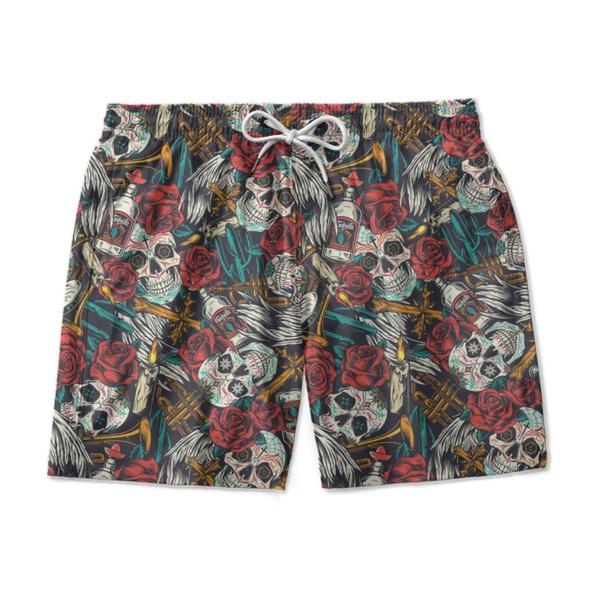 Short Praia - Skulls and roses