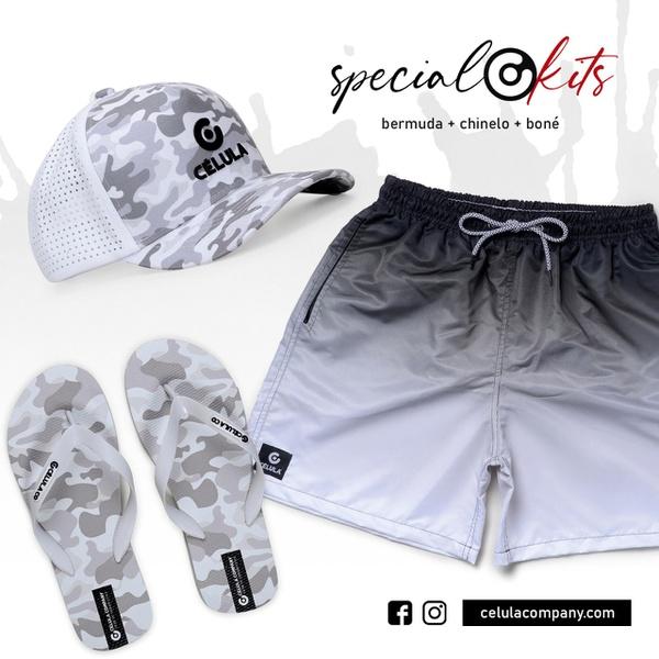 Kit Especial Célula Company Bermuda + Chinelo + Boné