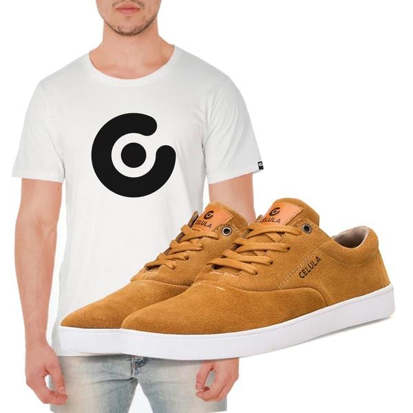 Tênis Mito - Camel / Branco + Camiseta Célula Branca