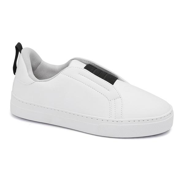 Tênis Slip On Elástico Branco
