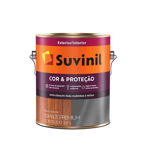 ESMALTE SINTÉTICO COR E PROTEÇÃO BRILHANTE PRETO 3,6L SUVINIL