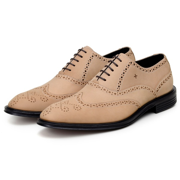 Sapato Casual Masculino Derby CNS Brogue Hass Natural