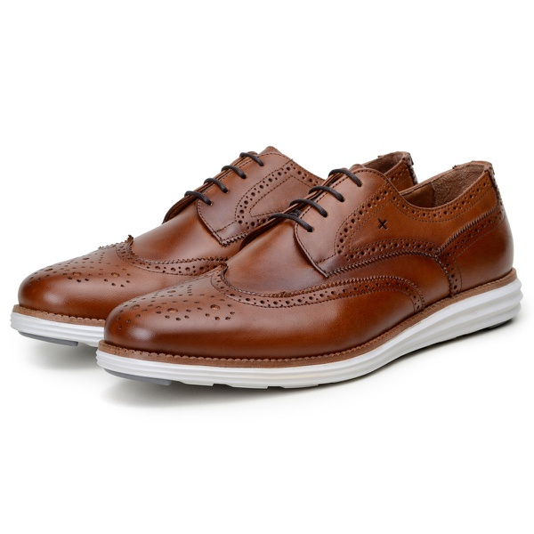 Sapato Casual Masculino Derby CNS Brogue Tolle Whisky