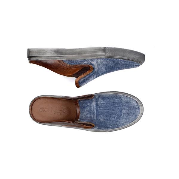 Mule Masculino CNS 62072 Jeans e Conhaque