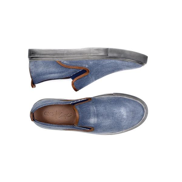 Sapatênis Masculino Slip-on CNS 62092 Jeans e Conhaque