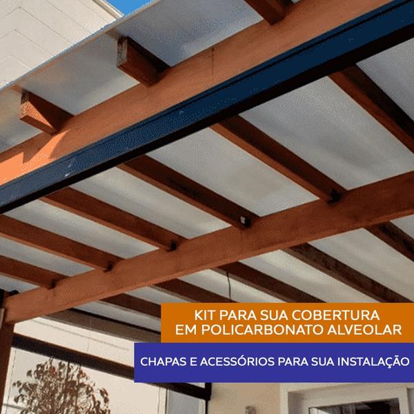 Kit 8 Chapas De Policarbonato Alveolar 1,05 x 6,00 x 6mm e Acessórios Para Instalação