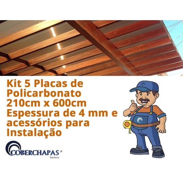 Kit Personalizado 4 Chapas De Policarbonato Alveolar 2,10x6,00 4 Milímetros e Acessórios Para Instalação