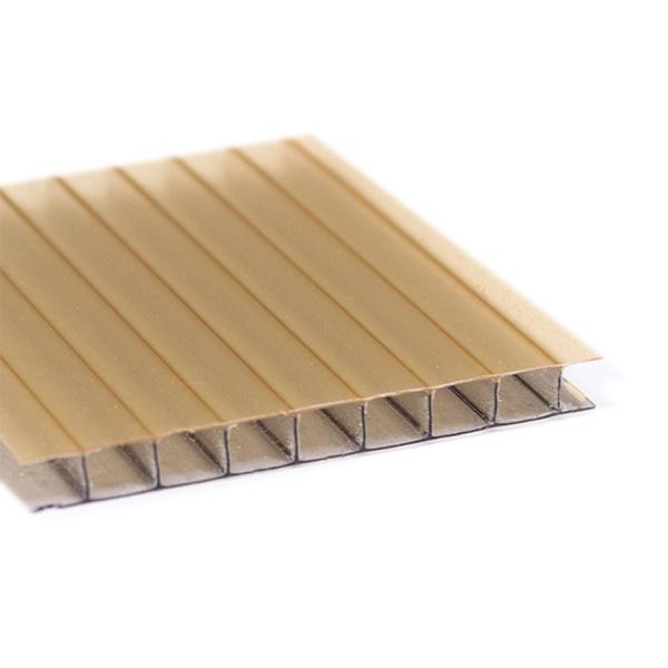 Kit 5 Chapas de Policarbonato Alveolar 1,05x6,00 6 Milímetros Ouro Bronze Refletivo + Acessórios para Instalação