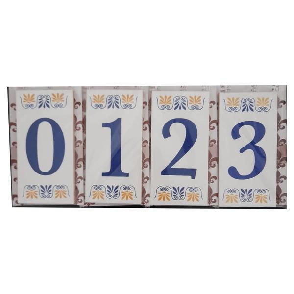 Algarismo Residencial Cerâmico Azul Nº0 ao Nº9 Ref.7004 - Cerâmica e Art